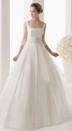 Square Neck Wedding Gown