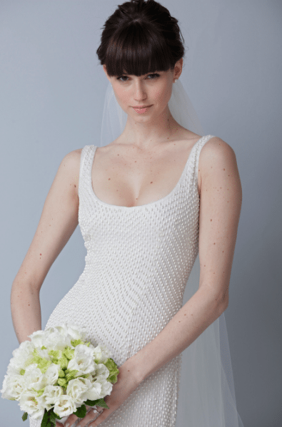 scoop neck wedding gown
