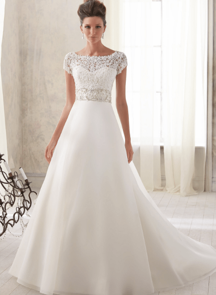 Bateau wedding gown