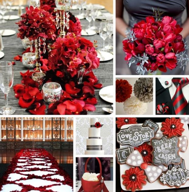 Reds and grays for your December wedding. Desktop Image